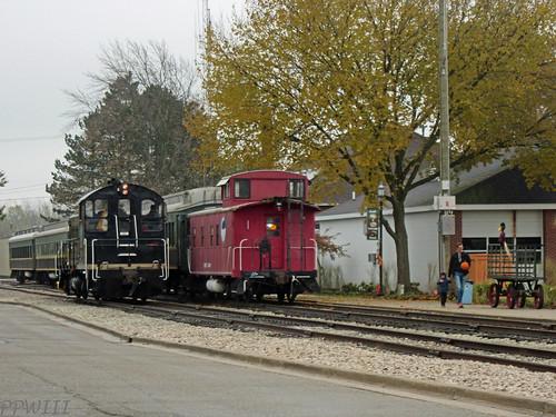 Dad/Son With Pumpkin Train