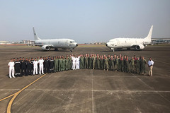 Members of Patrol Squadron (VP) 16 and Indian Naval Air Squadron (INAS) 312 pause for a group photo during a subject matter expert exchange. (U.S. Embassy India photo)