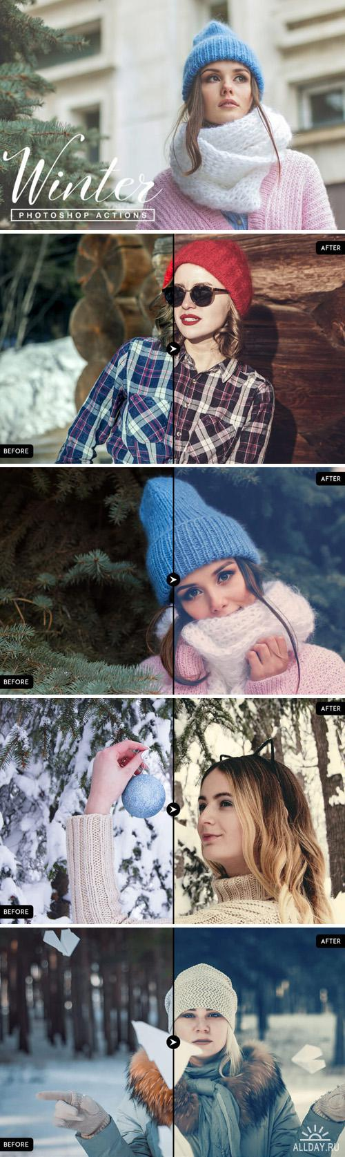 Set of 70 winter Photoshop actions
