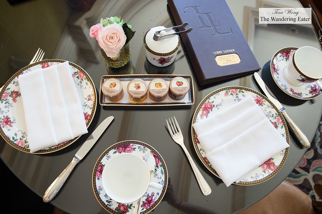 Table set for two with Wedgewood china