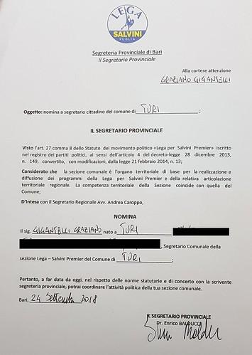 Lega Turi Il decreto di nomina