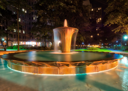 gatewayplazafountain hdr nikon nikond5300 outdoor pennsylvania pittsburgh buildings city downtown fountain geotagged light lights longexposure reflection reflections tree trees water plaza
