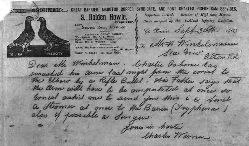 """A hasty 1900 pigeongram sent to H. Winkelmann by Charles Werner, a great Barrier Island resident. """"Dear Mr Winkelmann,"""" it reads, """"Charlie Soborne has smashed his arm last night from the wrist to the elbow by a rifle bullet. His father says that the arm will have to be amputated at once so Ernest asked me to send you this... send a steamer at once to the Barrier... also if possible a lawyer."""" (Sir George Grey Special Collections, Auckland Libraries, 7-A11539 via Smithsonian.com blog, November 1, 2017)."""
