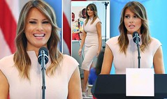 Melania Trump beams as she hosts her own New York spouses reception WITHOUT Donald