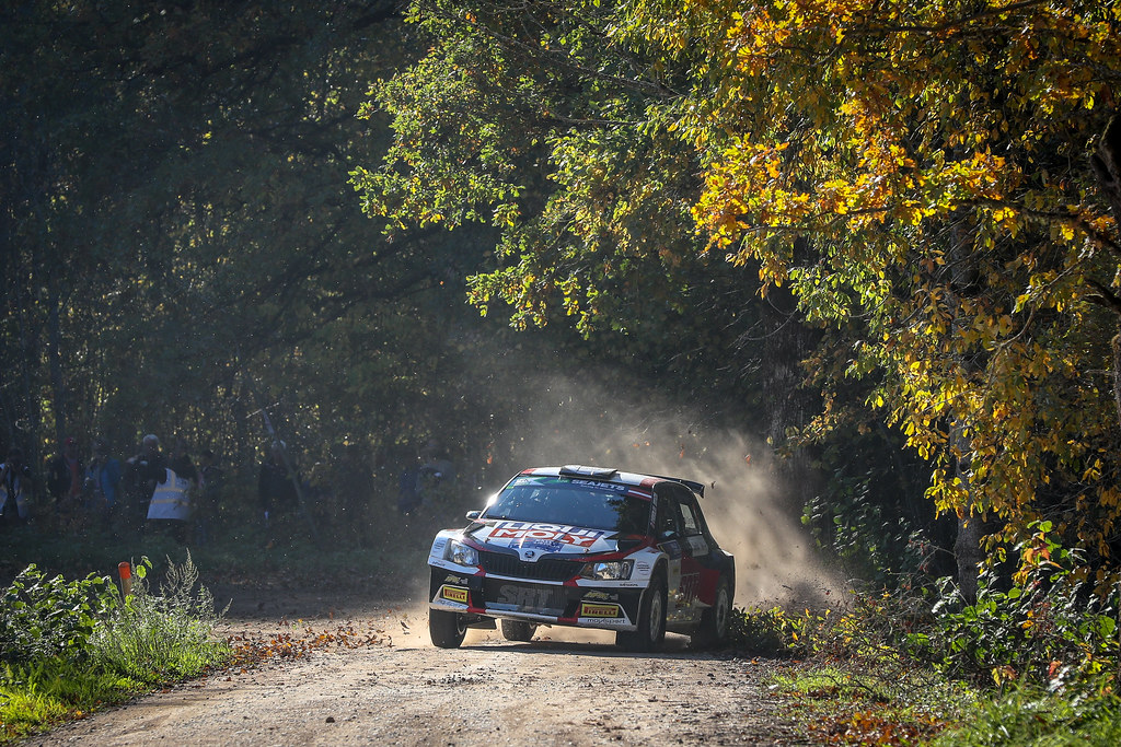 01 GRYAZIN Nikolay , (LVA), Yaroslav FEDOROV, (RUS), Sports Racing Technologies, Skoda Fabia R5, Action during the 2018 European Rally Championship ERC Liepaja rally,  from october 12 to 14, at Liepaja, Lettonie - Photo Alexandre Guillaumot / DPPI