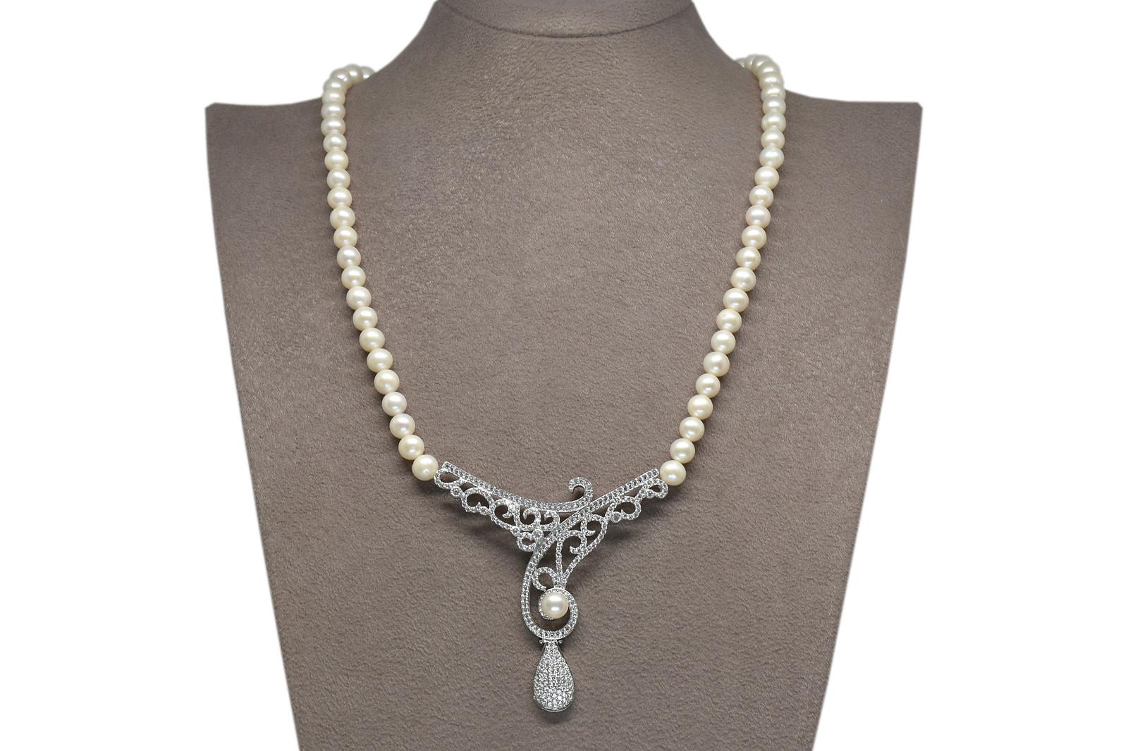 - Ahsen 925K Gümüş Klipsli Doğal Beyaz inci Kolye AH-0105