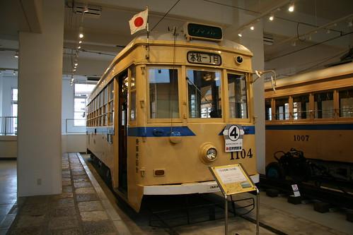 Yokohama Municipal Tram 1100 series in Yokohama Tram Museum, Yokohama, Kanagawa, Japan  /July 17, 2017