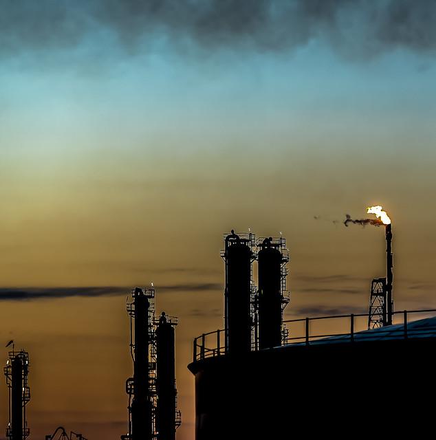 Distillation Columns. Stanlow Refinery, UK.