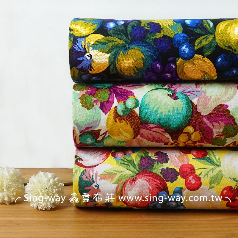 繽紛水果盤 蘋果 櫻桃 梨子 藍莓 手工藝DIY布料 CF550708