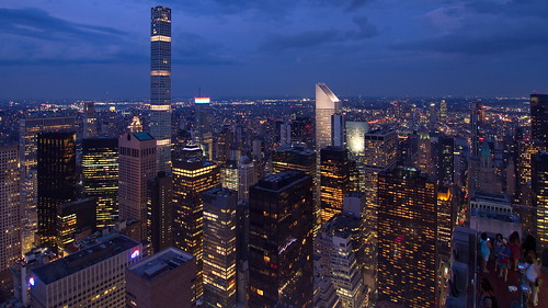 view midtown manhattan from top rock rockefeller center observatory new york city ny usa usa2018 united states america blue hour evening dusk night skyscraper skyscrapers