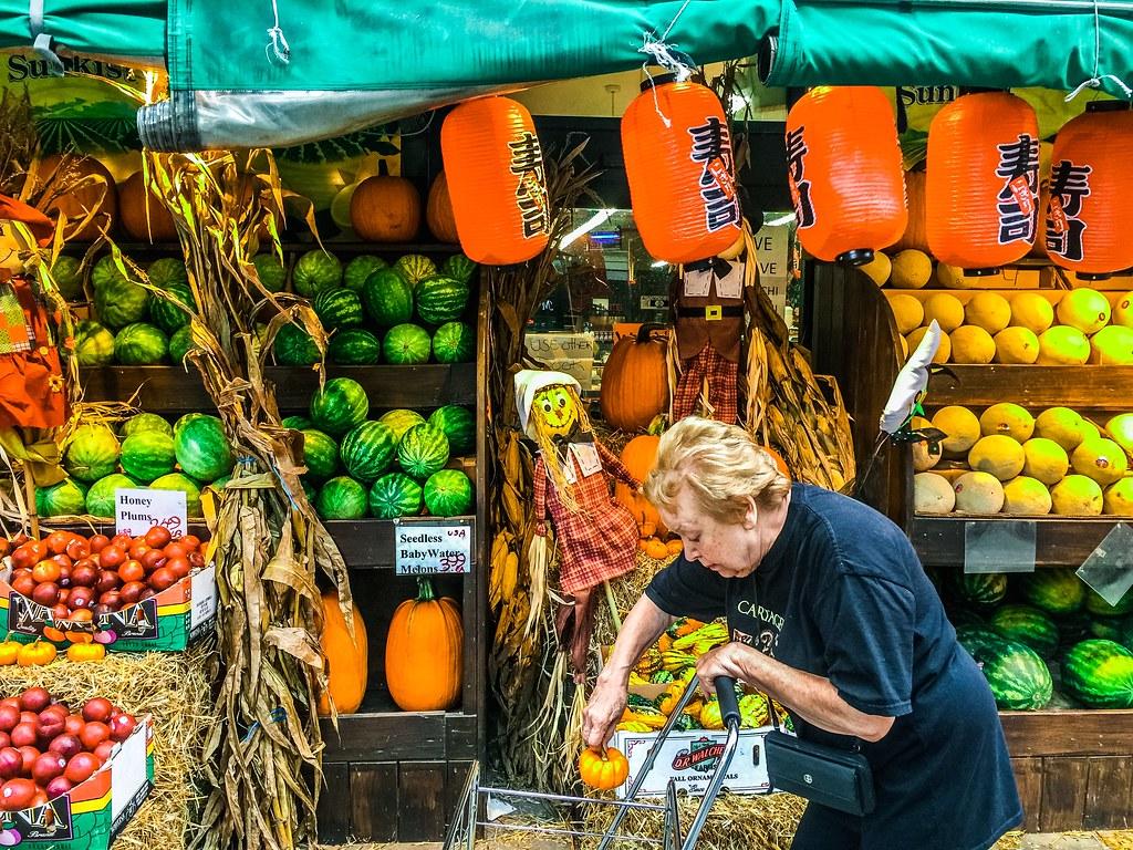 Pumpkin shopping in New York City.