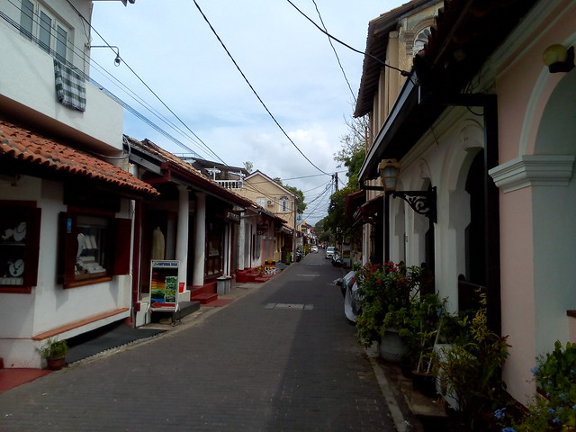 Typical street in the Galle Fort, Sri Lanka.