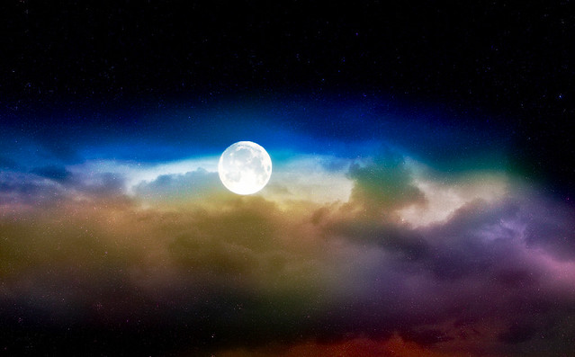 The moon and clouds ...