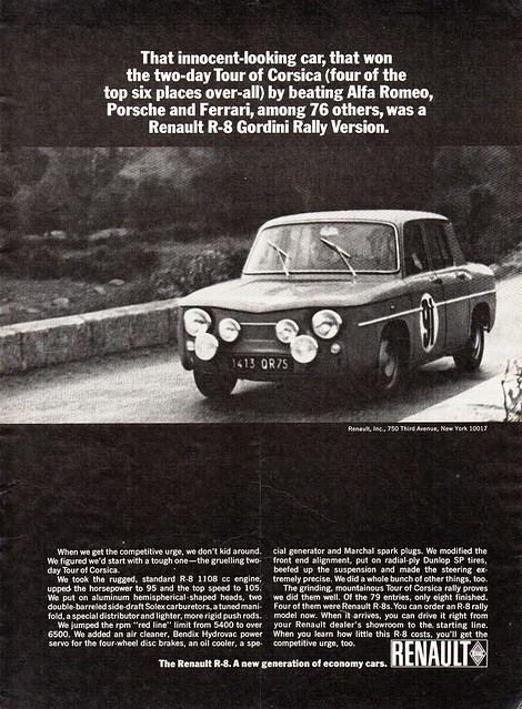 1965 Renault R-8 Gordini Rally Special Sedan USA Original Magazine Advertisement