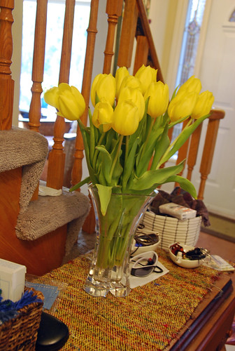 Yellow tulips on handwoven cotton silk table runner by irieknit