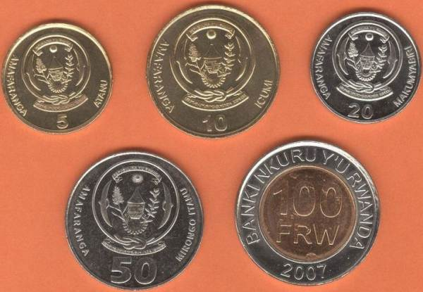 Rwanda 5-10-20-50-100 Amafaranga 2007-2011