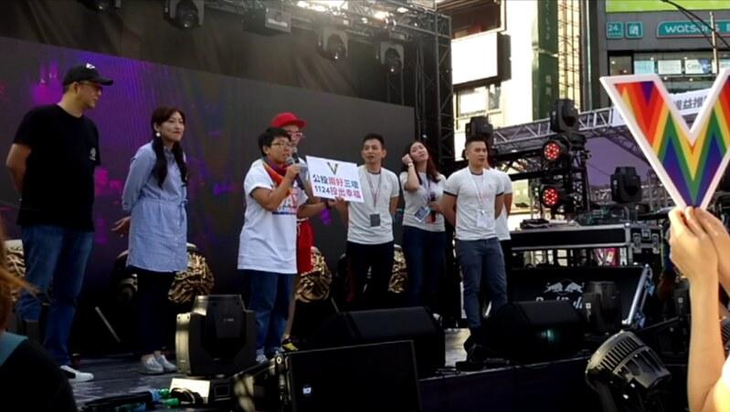 臺灣伴侶權益推動聯盟鼓勵民眾在公投中投下「兩好三壞」。圖/祝嘉敏攝