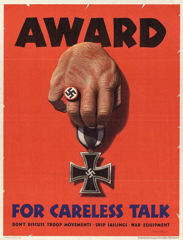 Award - for careless talk - don't discuss troop movements ship sailings war equipment (1944) - Stevan Dohanos (1907-1994)