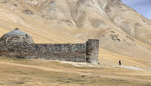 tash rabat kyrgyzstan stone caravanserai landscape kyrgyz scenery steppe fortress ancient old mountains central asia panorama