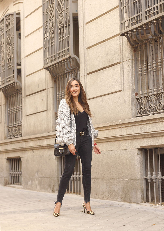 Grey cardigan black jeans folli folie watch leopard print heels starbucks tea street style fall outfit 201803