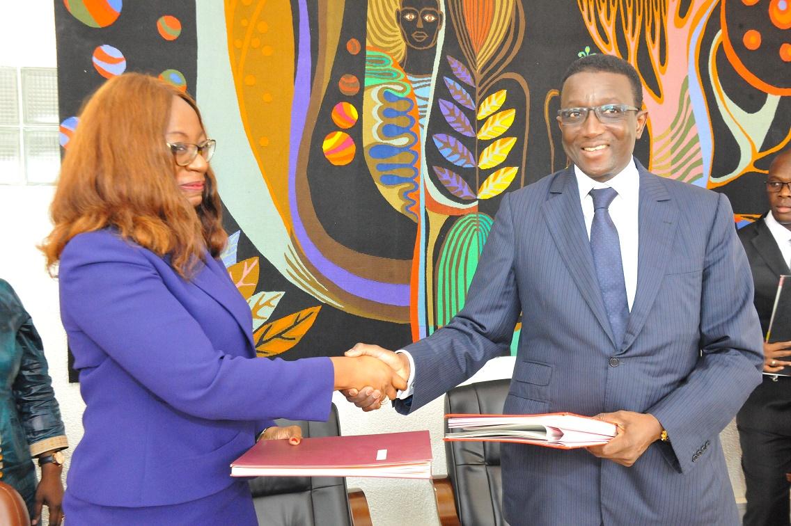 Amadou Ba lors de la Signature des Accords de prêt portant sur le financement des projets du PSE avec la BAD (8)
