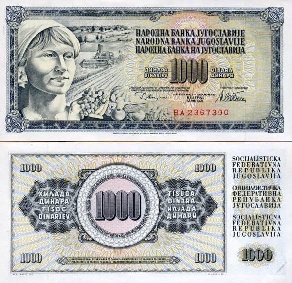 1000 Dinárov Juhoslávia 1978, P92c