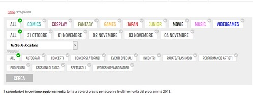Lucca Comics and Games 2018 -Programma