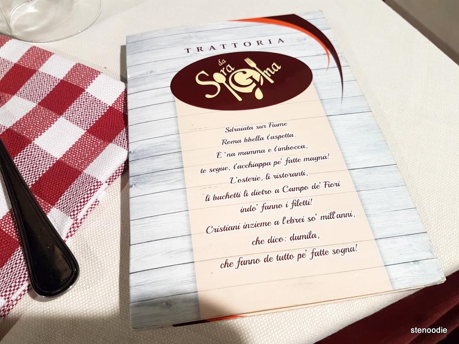 Trattoria Da Sora Gina menu cover
