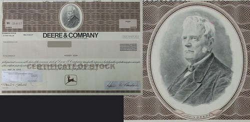 A Deere and Company Stock Certificate (with detail at right)
