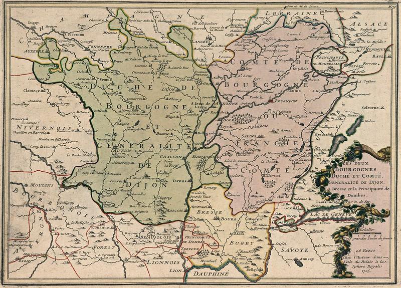 Nicolas de Fer - Les deux Bourgognes Duche et Comte Generalite de Dijon (1705)