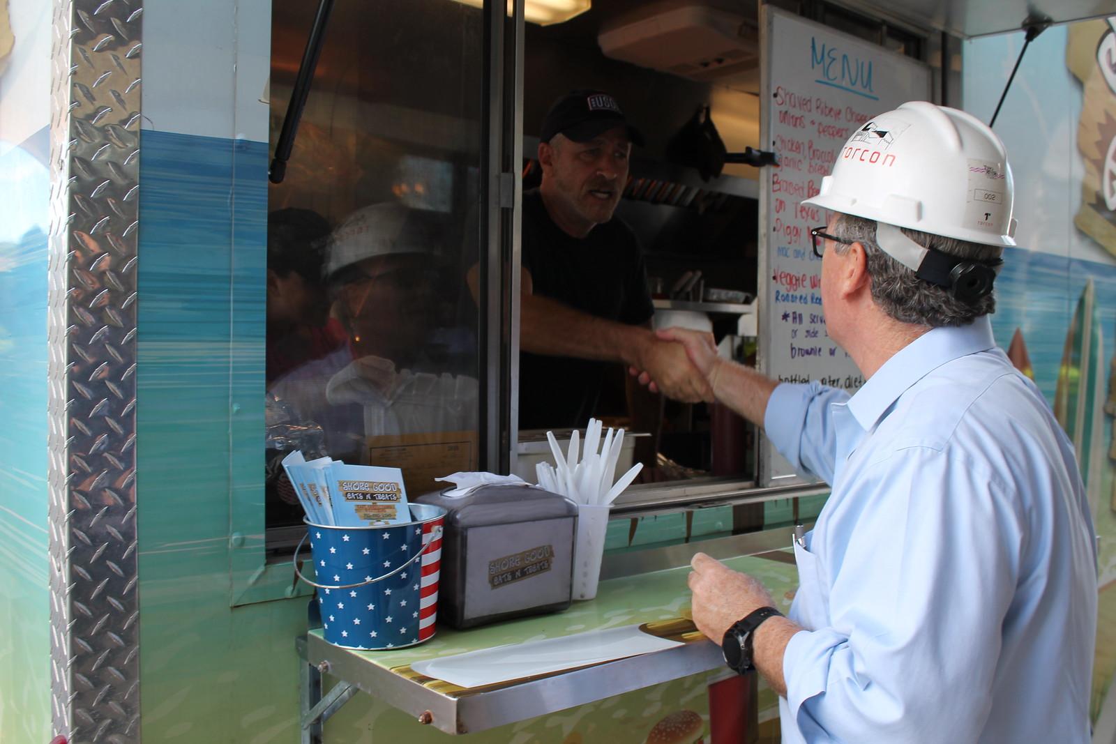 Jon Stewart Surprises Basie Center Construction Workers with Lunch 9.26.18