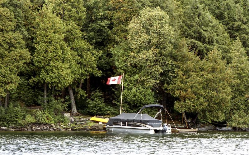 Pontoon Boat and Maple Leaf