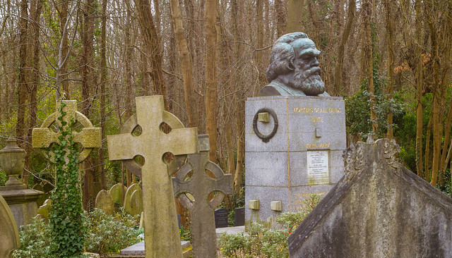 The Tomb of Karl Marx at the Highgate Cemetery in London
