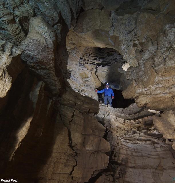 Daniel au dessus du ressaut de 3M du Gouffre du Paradis - Trepot