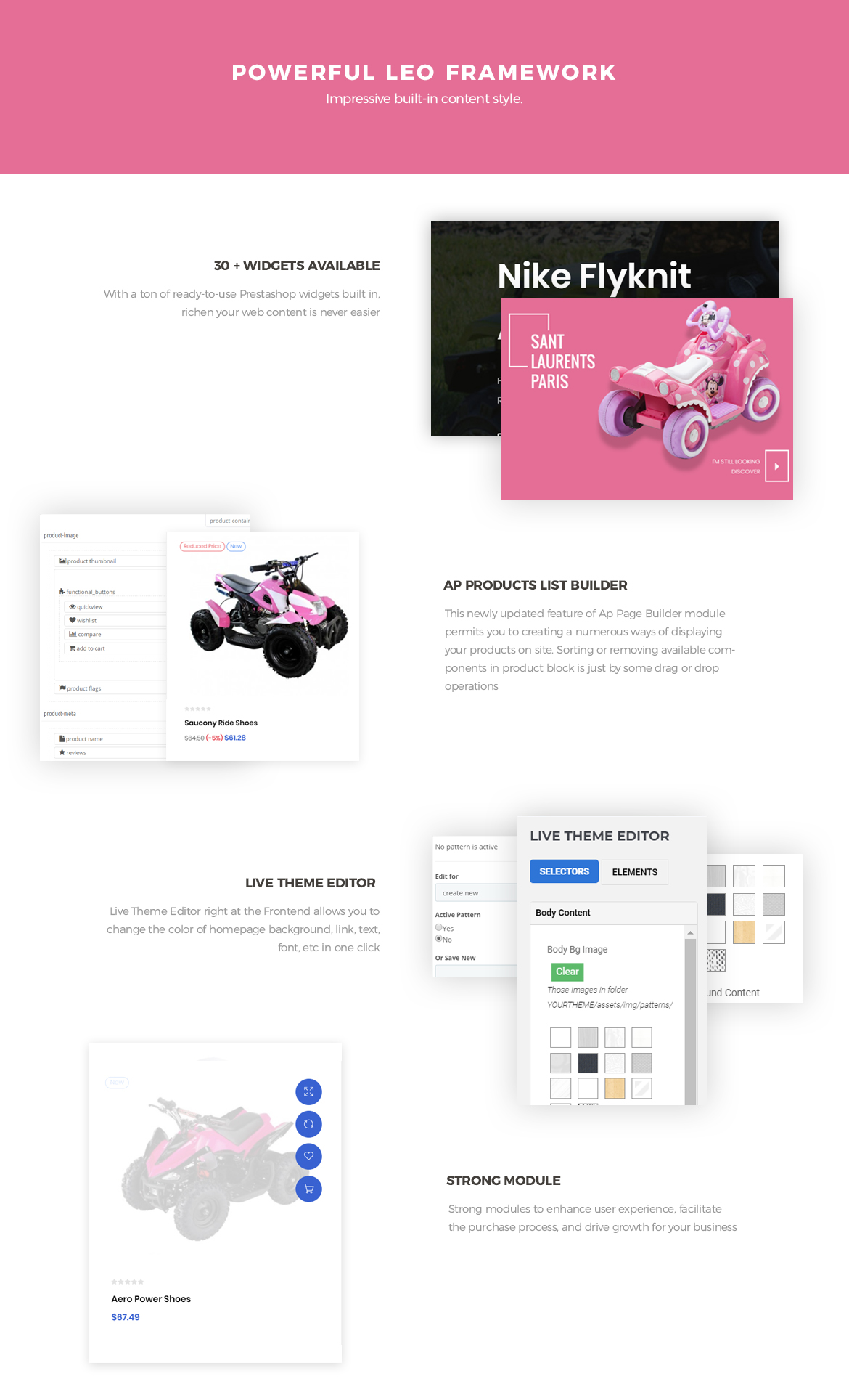 powerful prestashop framework - Leo Motokid - modern theme for kid cars.