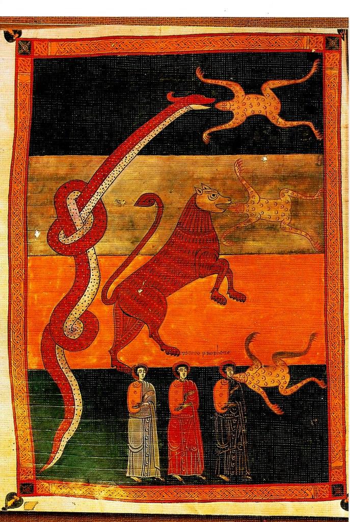 Los espíritus inmundos en forma de ranas saliendo de las bocas del dragón, de la bestia y del falso profeta. Ap. XVI, 13-14