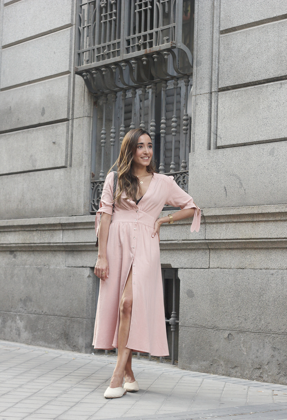 pink midi dress mules gucci bag outfit street style 201805
