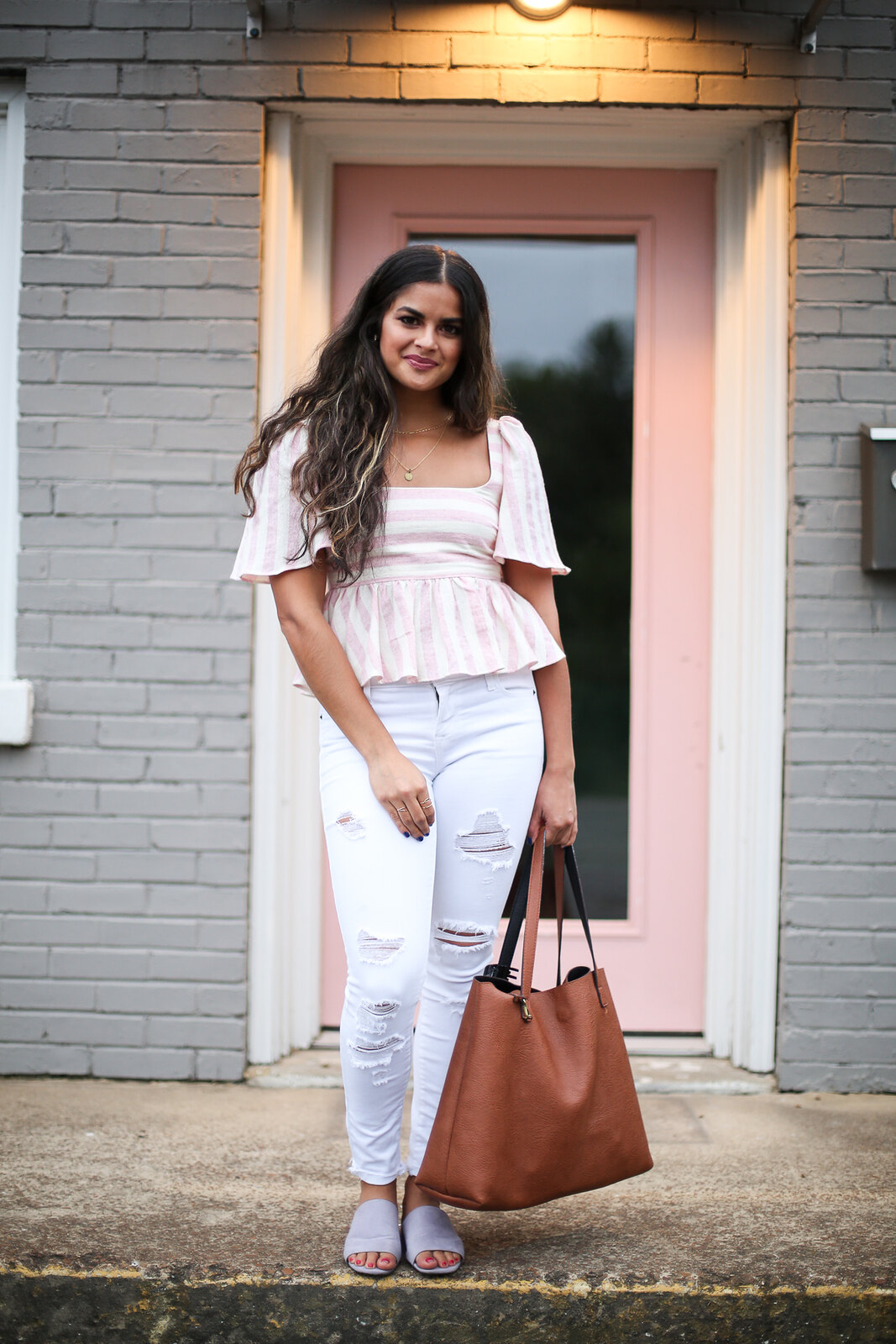 Priya the Blog, Nashville fashion blog, Nashville fashion blogger, Nashville style blog, Nashville style blogger, Summer outfit, lavender slides, Zara pink striped blouse, Summer outfit with white jeans, white Old Navy Rockstar denim, lavender suede slides, Summer outfit, Zara pink striped linen blouse