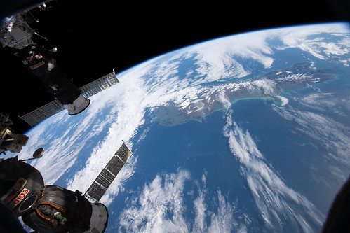 The International Space Station orbits above New Zealand | by NASA Johnson