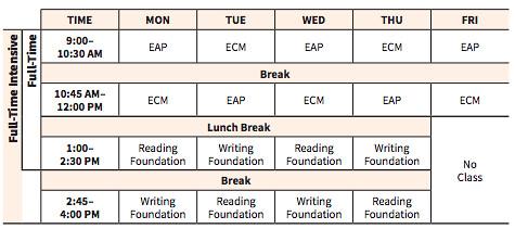 esl high school bridge program sample schedule