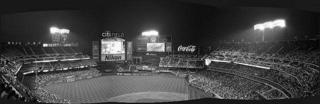 Citi Field - Mets Vs Reds, Queens - New York. A 4 shot panorama on film, un-cropped. Camera: Olympus XA (1979). Film: Kodak Tri-X 400.