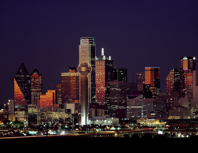 Dusk view of the Dallas, Texas skyline. Original image from Carol M. Highsmith's America, Library of Congress collection. Digitally enhanced by rawpixel.