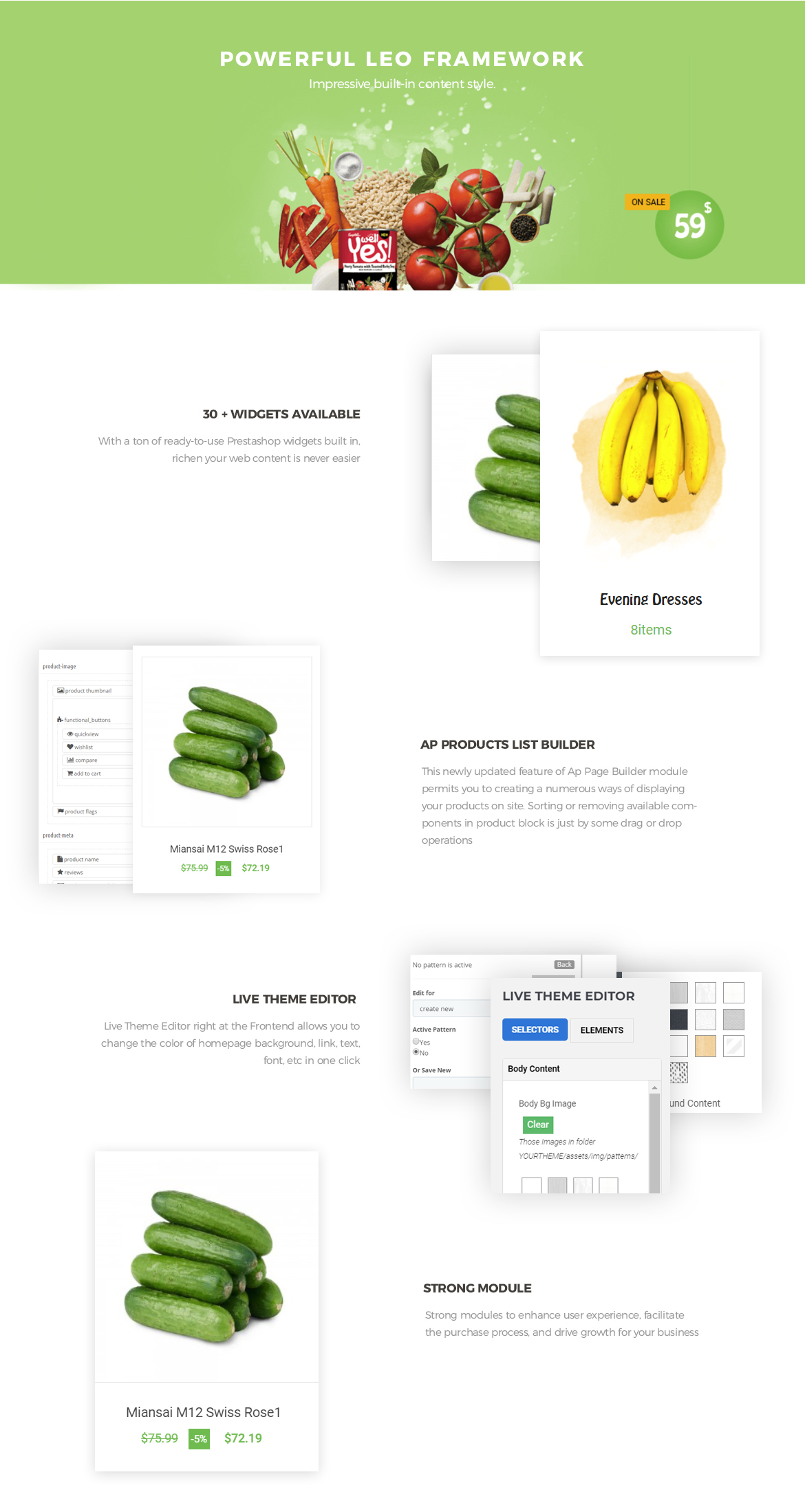 powerful prestashop framework - Bos Freshness - Food Prestashop Theme