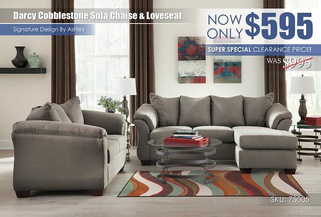 Darcy Cobblestone Sofa Chaise & Loveseat_LimitedSpecial_75005-18-35-T408