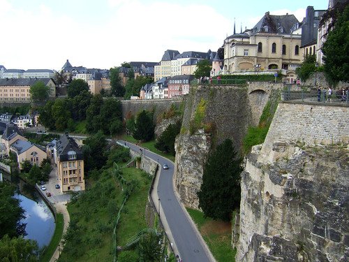 view of lower part of the Grund and old walls in Luxembourg