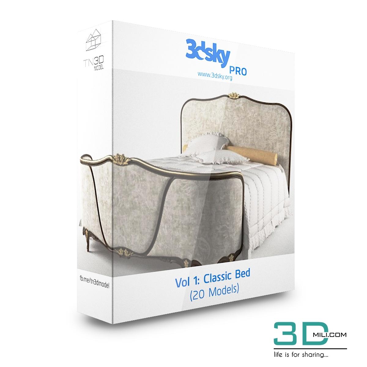 3dsky Pro Vol 1: Classic Beds - 3D Mili - Download 3D Model