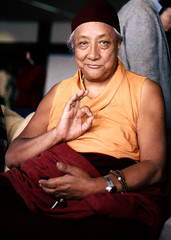 HH Dilgo Khyentse Rinpoche displaying the vitarka mudrā, Teaching, Giving Instruction, Reason, Preaching, Transmission of the Dharma mudra, after a visit to the Sakya Dharma Center, 1976, SeaTac Airport,  Seattle, Washington, USA (cropped)