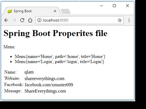 Thao tác với file .properties Spring framework