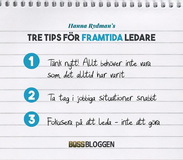 Tre Tips Hanna Rydman