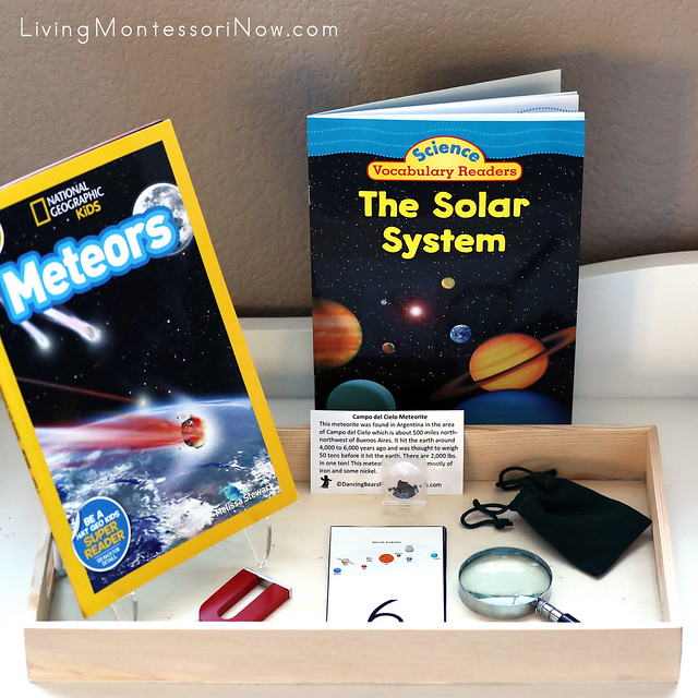 Meteorite Observation and Division Tray with Meteors and Solar System Books